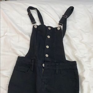 Kendall and Kylie black skinny overalls